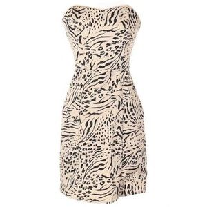 H&M Black &Cream Animal Print Strapless Mini Dress